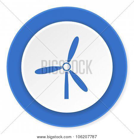 windmill blue circle 3d modern design flat icon on white background