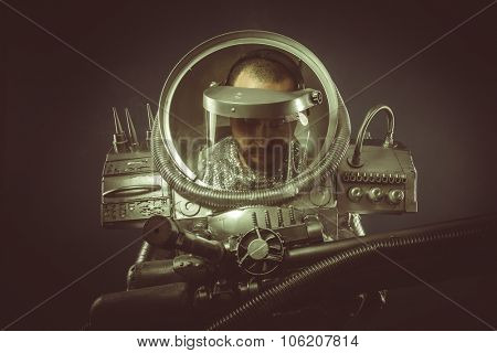 Fiction, spaceman with plasma gun and helmet glass