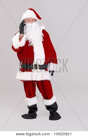 Santa Talking On Mobile Phone