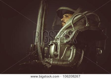 Game, spaceman with plasma gun and helmet glass