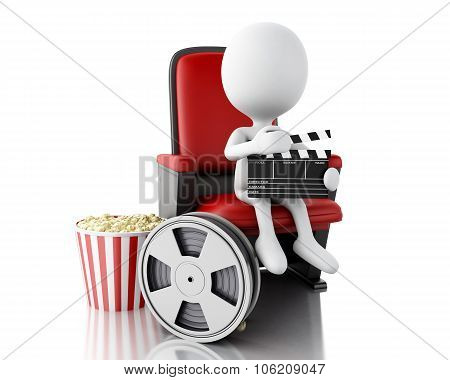 3D White People With Clapper Board And Film Reel On Theater Seat.