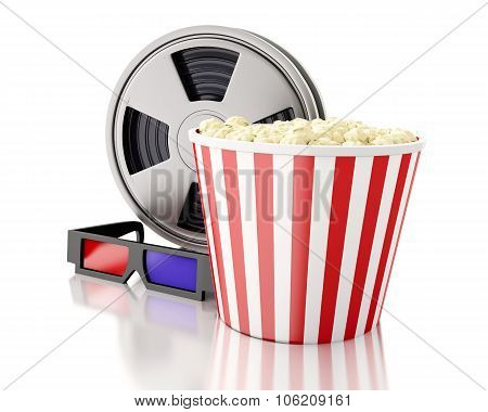 3D Film Reel And Popcorn.