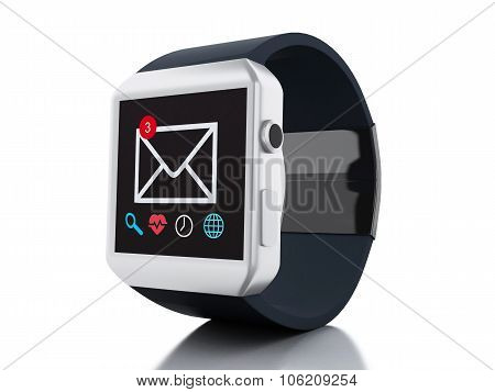 3D Smart Watch. Technology Concept