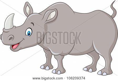 Cartoon happy rhino standing isolated on white background