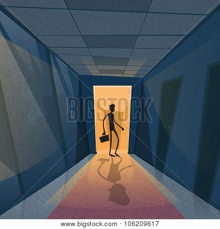 Business Man Black Silhouette Standing at Door Entrance