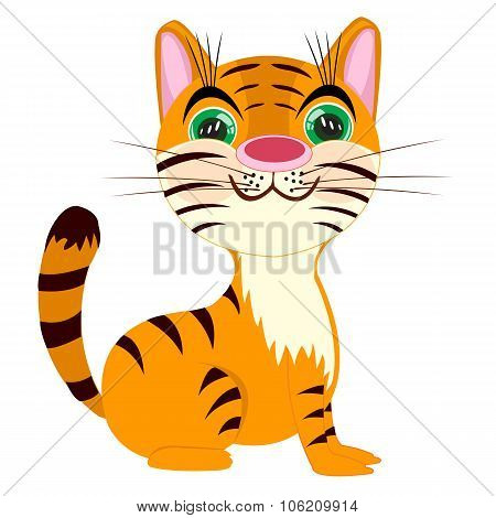 Striped Tigress On White Background