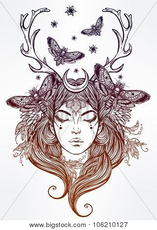 Female shaman portriat illustration.