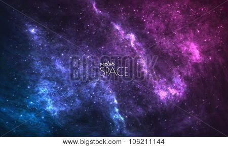 Cosmic Galaxy Background with nebula, stardust and bright shining stars. Vector illustration for you