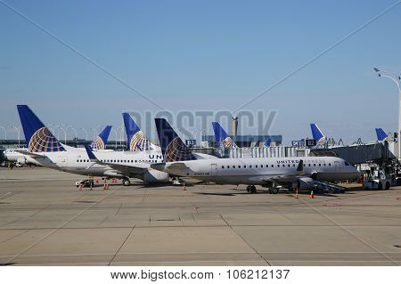 United Airlines planes at the gate at O'Hare International Airport in Chicago