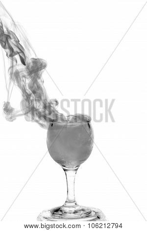 Witch Potion. Grey Smoke In A Glass. Halloween.