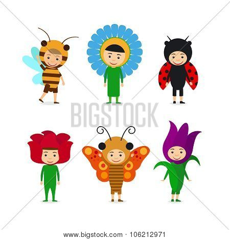 Kids in insect and flower dresses