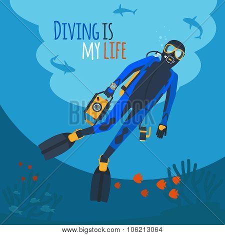 Diver underwater vector illustration