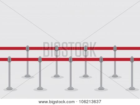 Retractable Belt Queue Stanchions Vector Illustration