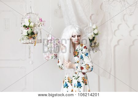 Beautiful girl with white hair in  background of cells, puppet style, floral decor