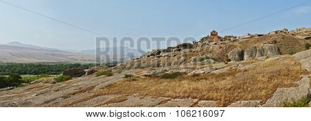 Georgia caucasian landmark. Uplistsikhe Cave Town Fortress panorama