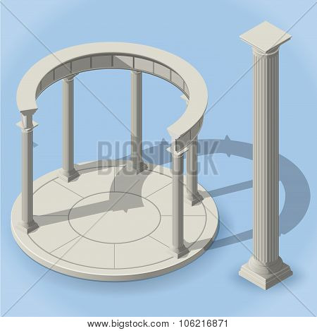isometric ancient rotunda monopteros