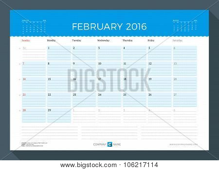 February 2016. Monthly Calendar Planner For 2016 Year. Vector Design Print Template. Week Starts Sun