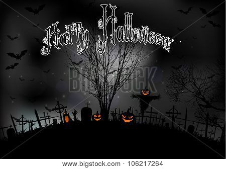 Halloween night with tree pumpkins and bats on graveyard