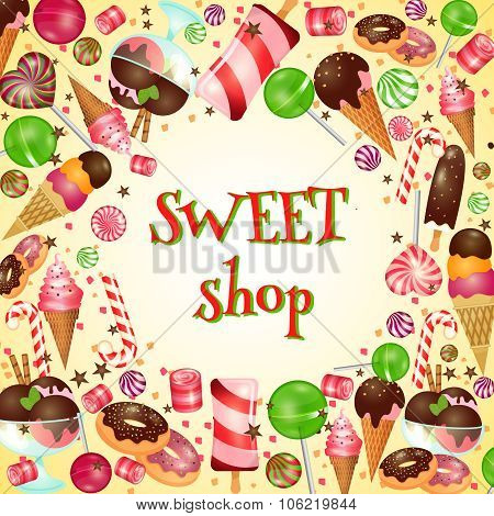 Sweet shop poster with candies and lollipops