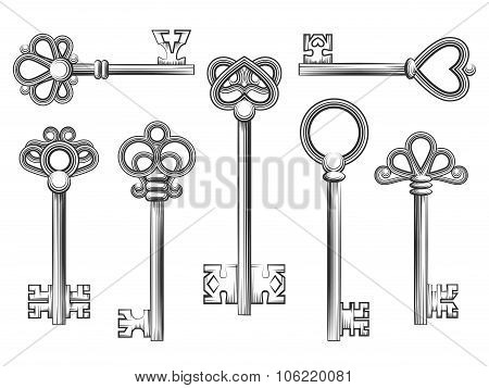 Vintage key vector set in engraving style