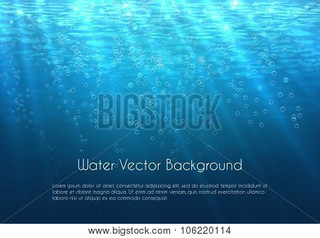 Deep blue water vector background with bubbles