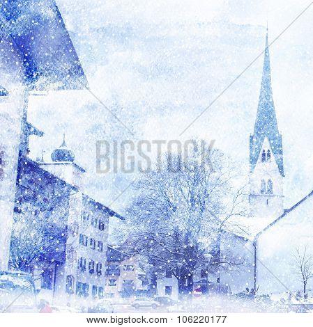 Watercolor Illustration Of Winter Cityscape