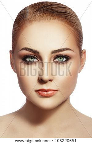Portrait of young beautiful healthy woman with stylish make-up over white background