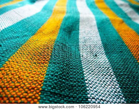 Green and Yellow Hand loom Bed sheet cover