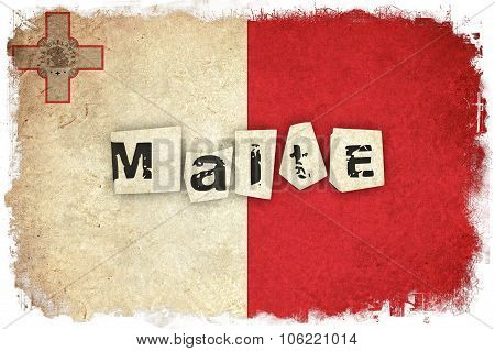 Malte Grunge Flag Illustration Of European Country With Text
