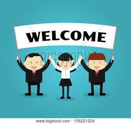 Businessmen holding welcome placard. Vector illustration
