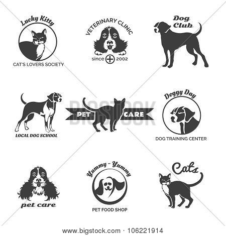 Pet club, dog center, veterinary clinic logos, emblems and badges vector set