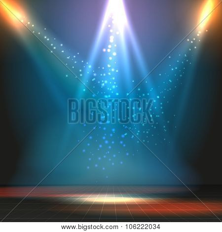 Show or dance floor vector background with spotlights
