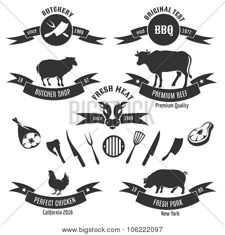 Vintage butchery shop labels