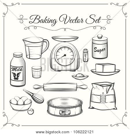 Baking food ingredients and kitchen tools in hand drawn vector style