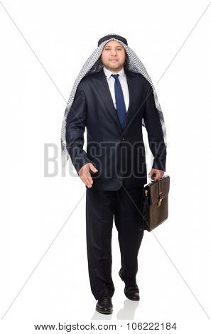 Arab businessman rushing isolated on white
