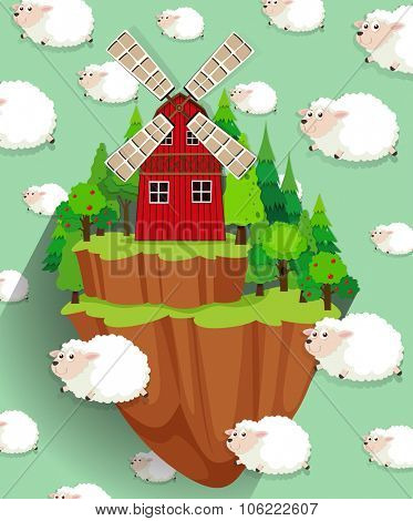 Windmill on the farmland and sheep background illustration