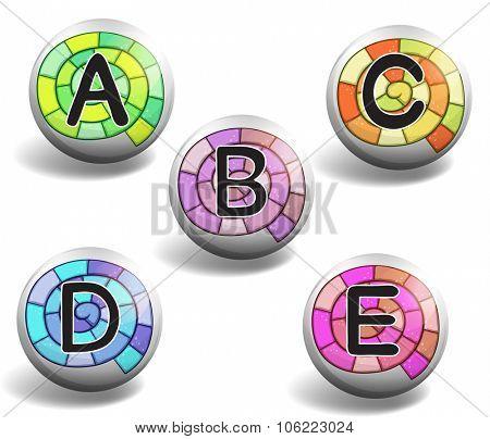 Alphabet on round badge illustration