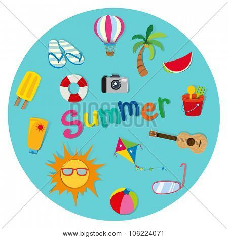 Summer theme with many objects