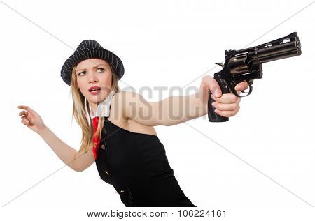 Gangster woman with handgun on white