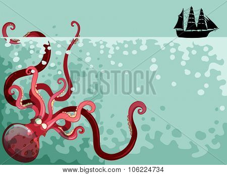 Giant octopus under the ocean illustration