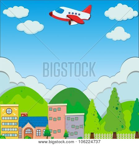 Airplane flying over buildings in suburb illustration