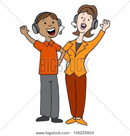 An image of a man and woman call center agents.