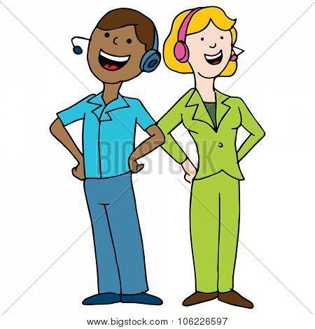 An image of a call center agent team.