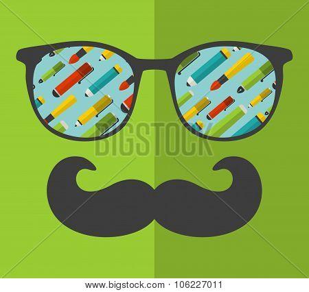 Vintage eyeglasses with reflection.