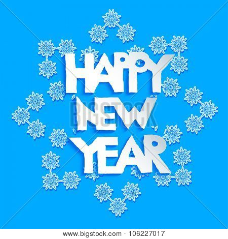 Big holiday snowflake on blue background. Happy new year design for card, banner, invitation, leaflet and so on.