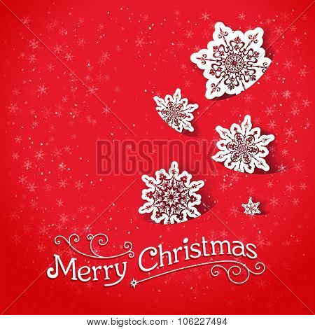 Red background with snowflakes. Christmas design for card, banner, invitation, leaflet and so on.