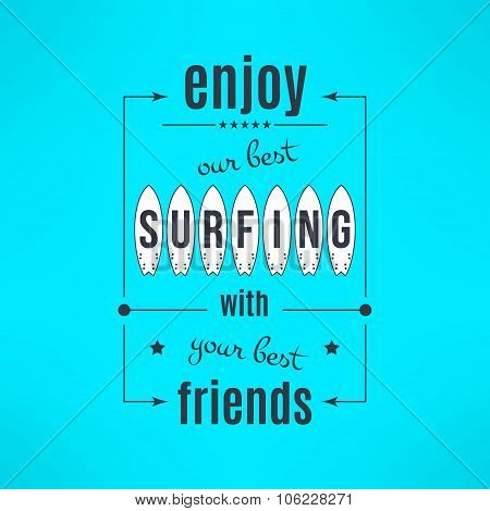 Vector surfing lesson poster with lettering design. Surfing t-shirt print background. Surf class adv