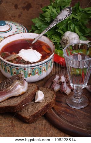 Borsch With Vodka And Salty Fat