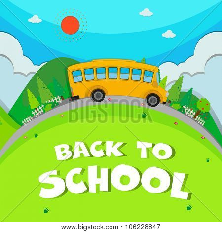 Schoolbus riding on the road illustration