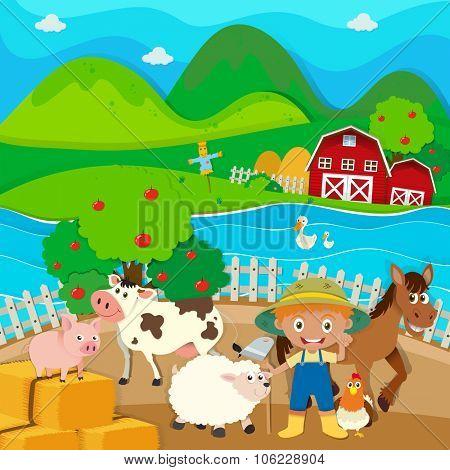 Farmer and farm animals on the farm illustration